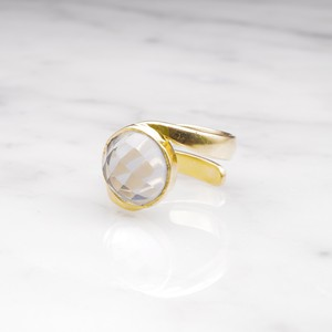 SINGLE STONE WAVE RING GOLD 001