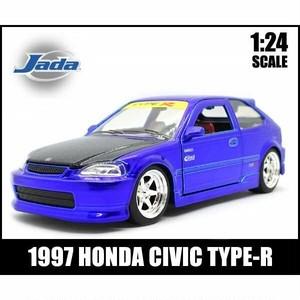 ミニカー 1/24 箱入り 1997 HONDA CIVIC TYPE-R (キャンディブルー) ホンダ シビック タイプR EK9型 国産車 旧車 Jada Toys
