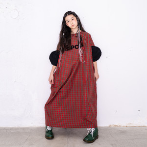 BONBON CUT JQ CIRCLE SLEEVES CHECK DRESS / WOMEN