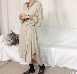 《掲載商品》Button design  long shirt one piece with belt