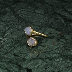 DOUBLE STONE OPEN RING GOLD 017