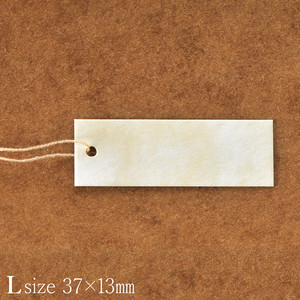 D115 アンティーク値札タグ L 下げ札 糸付きタグ 13×37mm 50枚