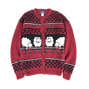 USED 80's Woolrich knit cardigan - red