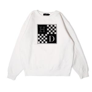 Checkered Crewneck Sweatshirt (White)
