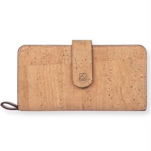 VEGAN CLUTCH WALLET - NATURAL + BROWN / 長財布 ナチュラルカラー コルク製