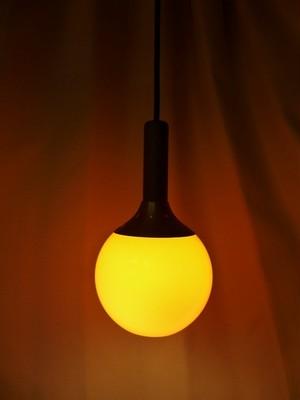 ガラスのボール型ペンダント照明【オレンジ】 (020931180)