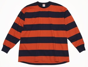 MARINE STRIPE FAT L/S TEE - ORANGE X NAVY