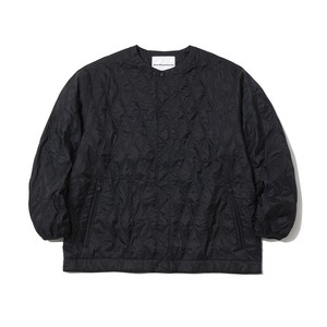 QUILTED NO COLLOR JACKET - BLACK