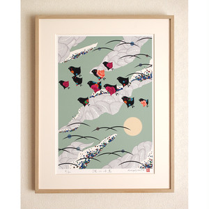花鳥画|波に千鳥