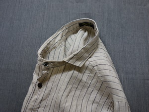 classic frenchwork pencilstrielinen shirt / antique white
