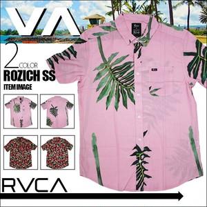 BA042120 ルーカ 新作 ショートスリーブシャツ メンズ 半袖 カジュアル ギフト 黒地 花柄 ピンク地 ボタニカル柄 M L ROZICH SS RVCA