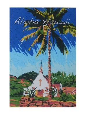 Aloha Hawaii ポストカード 絵画:パーム&チャーチ(Palm&Church)