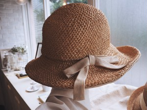 60's America Straw hat with ribbon