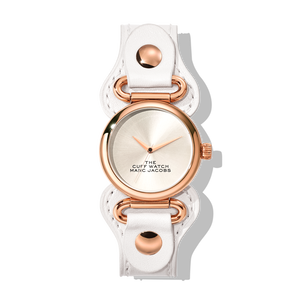 THE MARC JACOBS ザ マーク ジェイコブス THE CUFF WATCH 32㎜ ザ カフ ウォッチ SILVER SUNRAY DIAL/ROSE GOLD CASE/WHITE LEATHER STRAP 腕時計 レディース 20184727(2610002018472700)