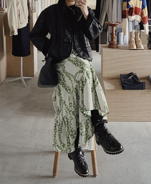 vintage tiered design skirt - chain pattern -