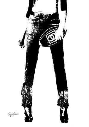 Craig Garcia 作品名:Rugby Girl 01  A4キャンバスポスターフレームセット【商品コード: cgrug01】