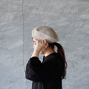 mature ha. (マチュアーハ )beret top gather big silk light beige 送料無料