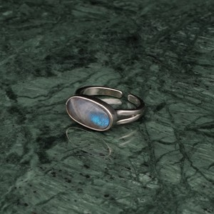 OVAL STONE RING SILVER 008