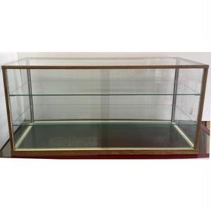 アンティーク・レトロ調 ガラスケースW900mm 木製風 チーク コレクションケース