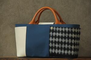 ビッグポケットトート Italian fabric combination ブルー×ホワイト