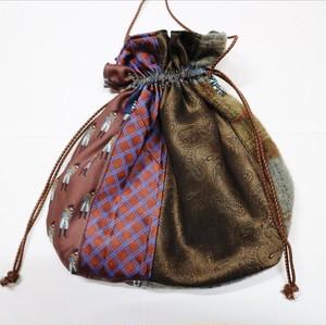 necktie  kinchaku pochette (brown×check)