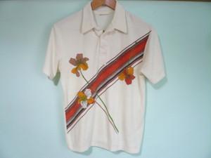 USビンテージ SEARS シアーズ パイル地 プリント ポロシャツ / 70s 80s OLD オールドサーフ カリフォルニア