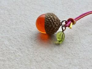 ストラップ-どんぐり (オレンジ)
