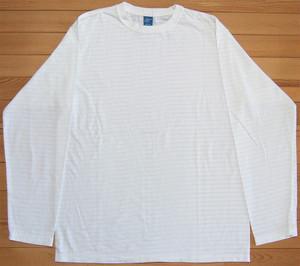 Good On L/S BORDER TEE W-WHITE グッドオン ロングスリーブボーダーTシャツ ロンT カットソー ホワイト×ホワイト COTTONUSA FabricMadeinUSA AssembledinJAPAN GOLS-9012