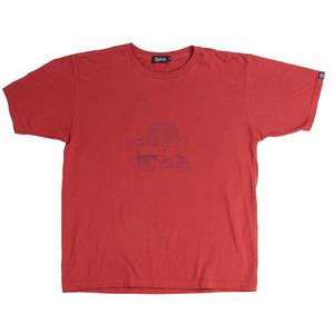 後染めプリントTシャツ:レッド