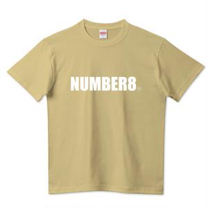【受注生産】Number8(ナンバーエイト) ホワイトロゴスモールダイヤモンドTシャツサンドカーキ(United Athle)
