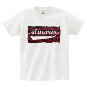 minario / TARTAN CHECK LOGO T-SHIRT WHITE