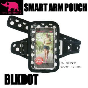 PINK ELEPHANT スマート・アームポーチ Lサイズ ブラックドット スマホケース