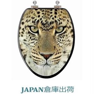 3D 豹デザイン木製便座 大型サイズ