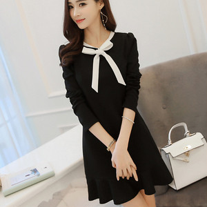 【dress】Fashion female elegant ribbon date dress
