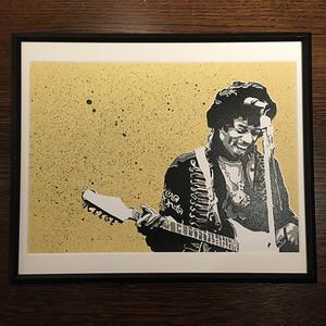【JIMI HENDRIX】Stencil Picture(額付き)/ Yellow