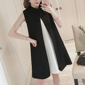 【ワンピース】ファッション配色ノースリーブスリットAラインワンピース19198538