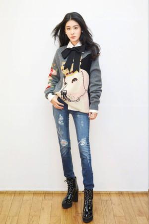 芸能人 女性 ロングセクション セーターニット 大人気 リボン 紋織り お洒落 可愛い 犬柄