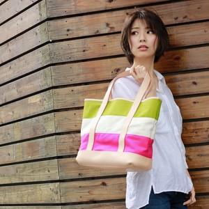 カラフルでナチュラルなオシャレ可愛いバッグ♪レザー&キャンバス・ボーダートート(ライム/生成/ピンク)※送料無料