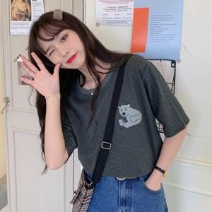 【トップス】キュート清新韓国系カートゥーンプリントシンプル半袖Tシャツ