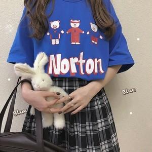 【トップス】日系レトロスウィートラウンドネック半袖Tシャツ