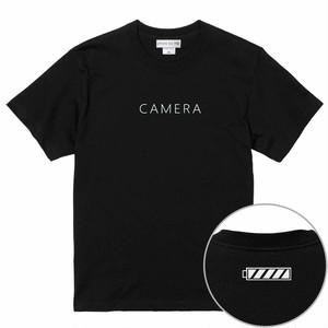 CAMERA フルバッテリーアイコンデザイン Tシャツ BLACK