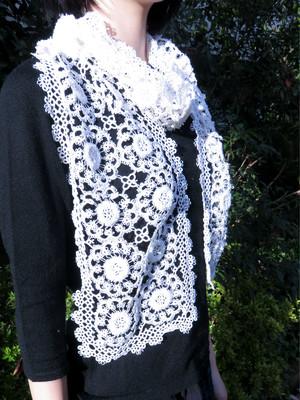 手編み タティングレース スカーフ ホワイト