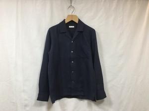 """niuhans""""lrish linen opencollar L/S shirts navy"""""""