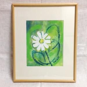 額装アクリル画「白い花」