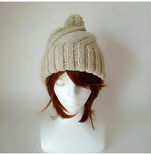 cucua 18スパイラルニット帽(クリーム)