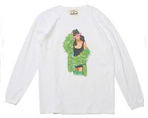 """ASSASSYN JEANZ アサシンジーンズ A20W05 MARY ロングスリーブTシャツ """"MARY JANE"""" ゴージャスなウィードのコートが、まさにメリージェーンギャング。鮮明に再現されたグリーンの色味に注目Tシャツ【WEEDY。独自のドープスタイルを追求する唯一無二のスモーカーズギア。圧倒的な表現力を落とし込んだサンプリングデザインで人目を誘う】"""