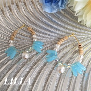 【RE-STOCK】 pearl × pale blue × wood beads hoop