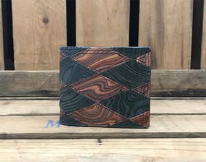 MAGNET Patchwork Billfold Wallet Wood Black x Wood Brown