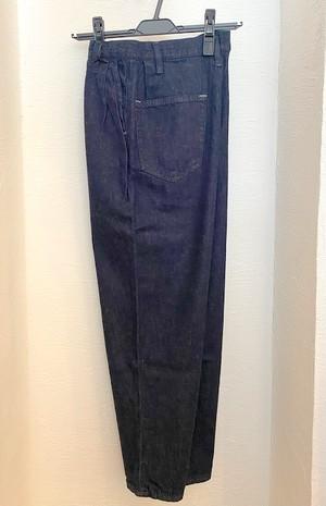 Linen Blended Denim Wide 2 Tuck Ankle Pants Navy Indigo