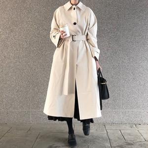 【アウター】秋冬レトロストリート系定番ファッションベルト付き無地トレンチコート22576132